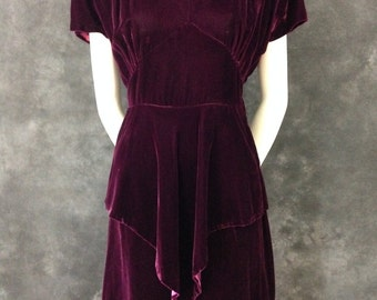 Vintage 1940's plum velvet dress with peplum and sequin