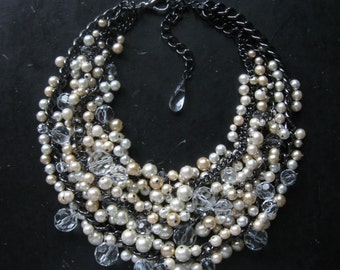 Bridal Statement Necklace - New Years Eve - Black and White - Pearl Bib - Cream White and Crystal on Gunmetal Chain - Mermaid Farts