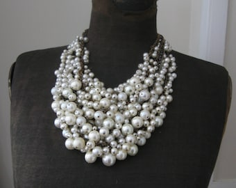 Pearl Bib Statement Necklace - Bridal Wedding Upcycled Vintage - Cream and  White with Brass - Mermaid Farts