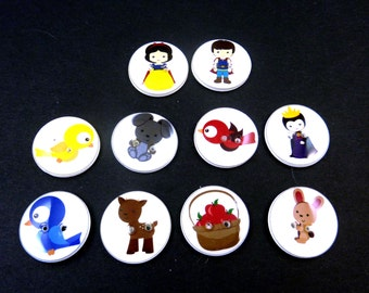 "10 Snow White Buttons. Handmade Buttons.  3/4"" or 20 mm Fairy Tale or Story Buttons. Sewing, Knitting, Crochet Accessories."
