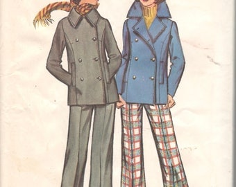 Simplicity 5253 1970s Misses  Double Breasted Peacoat Jacket  and Pants Pattern Womens Vintage Sewing Pattern Size 12 Bust 34 UNCUT