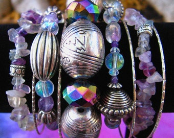Bracelet Set- Sorceress Stone- Silver and Purple