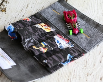 Hot Rod Car Wallet. Toy Car Roll Up. Toy Car Storage. Toy Car Carrier. Car Organizer. Travel Toy. Quiet Book. Play Mat. Toy Car Holder.