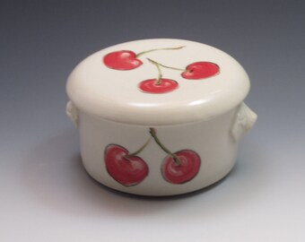 Porcelain french butter dish, handpainted with cherry design