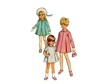 1960s Girls Dress and Coat Pattern Pleated Short Dress Peter Pan Collar Coat Easter Spring Simplicity 7562 Size 2 Vintage Sewing Pattern