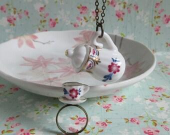 Teapot Tea Cup Set, Plum Flower, Miniature Teapot Necklace, Miniature Tea Cup Ring, Brass Chain, Ceramic Jewelry Gift Set