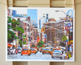 Yellow New York Taxi Cabs, Traffic, Transportation Painting NYC Art NY Art  Cityscape with Taxis,  Art Print 8x10, Painting by Gwen Meyerson