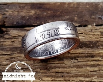 1998 Coin Ring Double Sided Coin Ring Liberty Year Quarter Coin Ring Washington Quarter Coin Ring