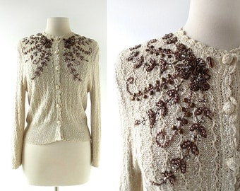 Vintage Beaded Cardigan | Copper Bower | 1950s Sweater | S M