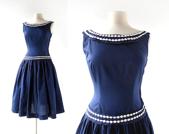Blue 50s Dress | Daisy Chain | 1950s Dress | XS S