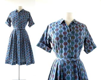Vintage 1950s Dress | Gyroscope | Novelty Print Dress | 50s Dress | XS