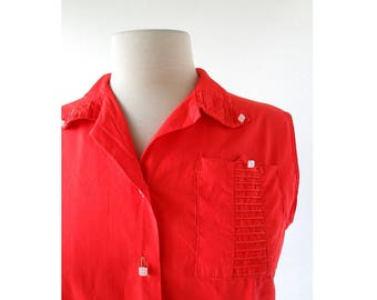 Vintage 1950s Blouse | Rizzo | Red Sleeveless Blouse | M L