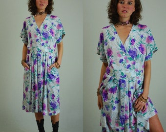 Slouchy Dress Vintage 80s White Floral Linen Made in the USA Slouchy Secretary Dress (m l)