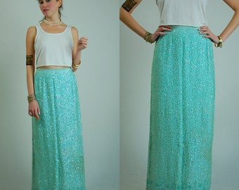 Draped Sequin Skirt Vintage 60s Mint Green Hand Beaded Slouchy Mermaid Full Length Pencil Skirt (s m)