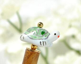 "Turtle Hair Stick Hair Beads Turtle Hair Pin Bun Pin Wood Hairstick Chopstick Turtle Jewelry - ""Motivation"""