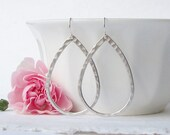 Silver Hammered Hoop Earrings, Hoop Earrings, Mother's Day Gift