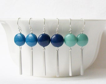 Blue and Green Coin Pearl Dangle Earrings, Bridesmaid Jewelry Gift