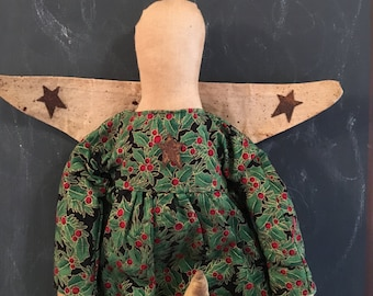 Folk Art Primitive Christmas Angel Holding Star Green Dress