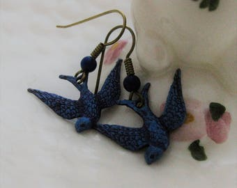 Bluebird Earrings Blue Bird Earrings Bluebird of Happiness Handmade Blue and Purple Vintage Bird Jewelry Bird Lover Gift for Her Birds