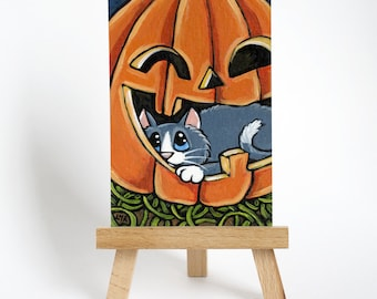 Original ACEO Grey Cat in Pumpkin | Halloween Hideaway | Whimsical Cat Art by Lisa Marie Robinson