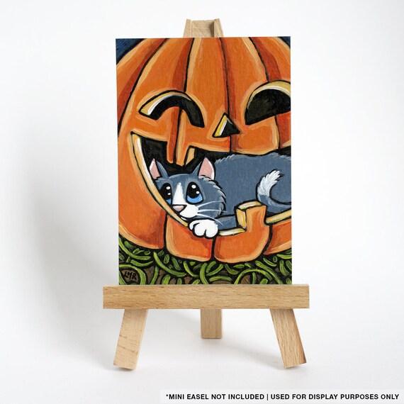 Original ACEO Grey Cat in Pumpkin | Halloween Hideaway | Whimsical Cat Art by Lisa Marie Robinson