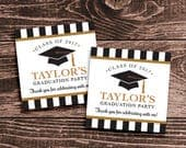 Personalized Graduation Party Favor Tags or Stickers – DIY Printable – Classic Cap (Digital File)