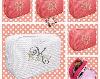 Set of 9 bridesmaid makeup bags , bridesmaid accesory bags, waffle cosmetic bag , bridesmaid gifts , personalized bridesmaid gifts