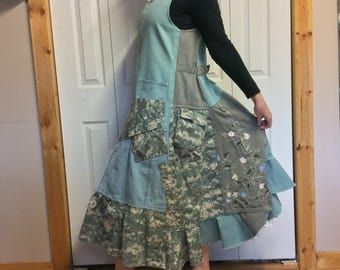 Upcycled Denim Jumper Dress/Plus Size Dress with Pockets/Midi Zip Up Dress/Digital Camo/Recycled Repurposed Clothing/Womens Size XL