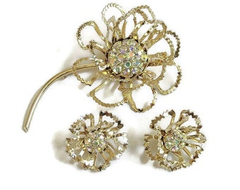 Aurora Borealis Rhinestones Flower Brooch and Earrings Set Vintage Open Cut signed Coventry