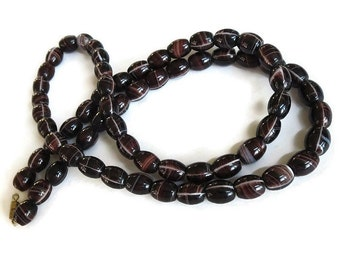 Chocolate Brown Banded Agate Necklace Vintage Long Beads