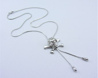 Adjustable Silver Necklace Skull and Cross Bones