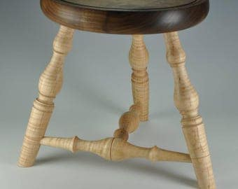 Curly Maple and Walnut Windsor Style Footstool