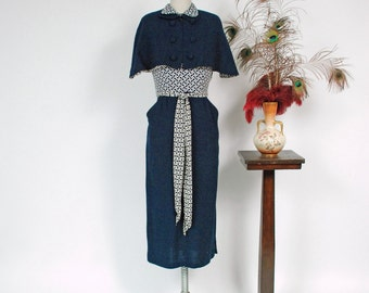 Vintage 1940s Dress Set - Chic Rayon and Wool Late 40s Print Block Dress and Matching Cape with Matching Rayon Lining