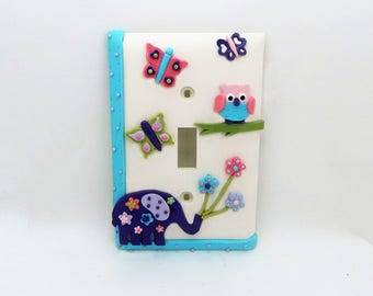 Elephant, Butterflies, Owl and Flowers Light Switch or Outlet Cover - Turquoise, Purple, Pink, Green - Safari Jungle Nursery