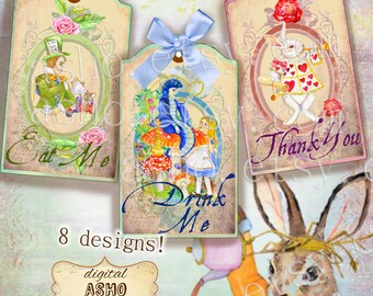 8 Digital Watercolor Alice in Wonderland Eat Me, Drink Me, Take Me, Thank You, Tags,Toppers,Cards,Gifts,Party Favors,Wedding,Birthday,Cake