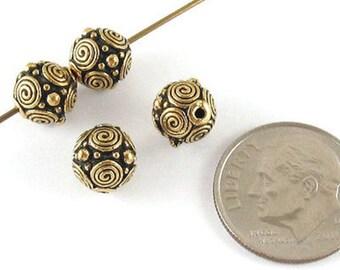 TierraCast Pewter Round Beads-ANTIQUE GOLD SPIRALS 8mm (4)