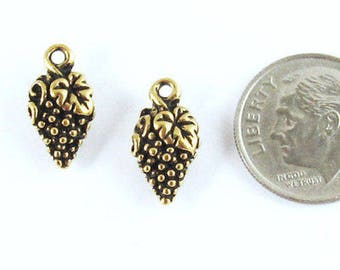 TierraCast Pewter Double Sided Charms - GOLD GRAPES (2)