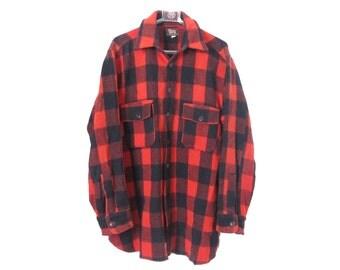 1940s WOOLRICH Buffalo Plaid Mackinaw Shirt Jacket