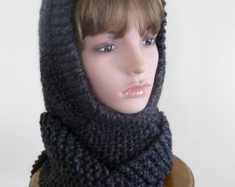Hooded Scarf Chunky Knit Scoodie Teen Adult Warm Hooded Scarf - Charcoal - Ready to Ship - Direct Checkout - Gift for Her