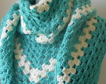 Crochet Shawl Triangular Shawl in Granny Square Pattern - Warm Wrap- Crochet Wrap- Ready to Ship - Direct Checkout - Gift for Her