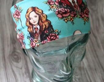 Floral headband, HP, sweatband, hair accessory, yoga headband, turban knot, twist headband, knot headband, geeky gift, jogging headband