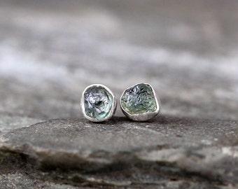 Raw Montana Sapphire Earrings - Blue Green Uncut Rough Montana Sapphire - Stud Earrings - Sterling Silver - Bezel Set Tiny Stud Dot Earring