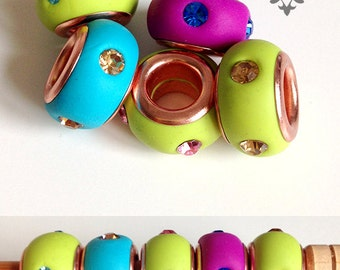 Dread Beads 8mm with Crystals- Hand made Copper Eyelet Dread Beads with 8mm Hole 1x Bead - Fuchsia Spring Green Aqua