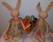 Primitive Bunny Rabbit doll set, Finished bunnies and carrots with basket, Homespun from the heart