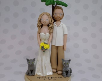Bride & Groom Customized Outdoor/ Beach Theme Wedding Cake Topper