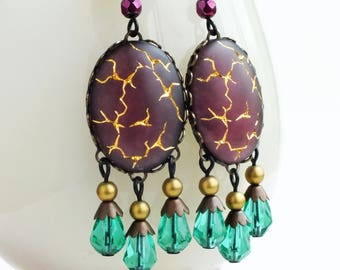 Amethyst Chandelier Earrings Large Purple Green Dangles Earrings Glamorous Statement Jewelry Vintage Matte Glass Gold Crackle Earrings