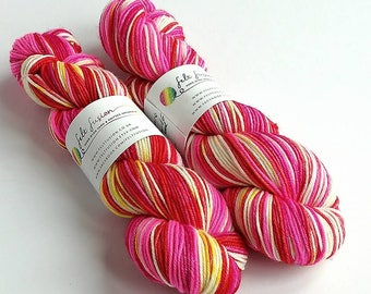Hand dyed yarn, silver sparkle DK yarn, superwash merino/nylon/stellina double knit yarn, indie dyed wool yarn, pink red yellow white yarn