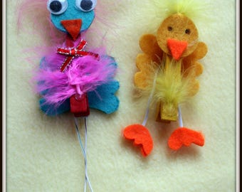 Whimsical Feathered Bird Clips, Place Card Holders, Birthday Gift Tags