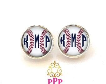 Baseball Earrings, Monogram Earrings, Monogram Jewelry, Personalized Jewelry  (511)