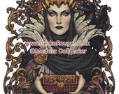Villain Cross Stitch, 'Evil Queen' Medusa Dollmaker Art, Art Nouveau Witch, XStitch KIT, Fairy Tale Villain, Snow White, Witch  Cross Stitch